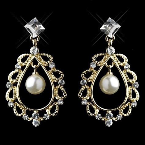 rhinestone pearl chandelier earrings