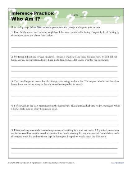 making inferences  grade worksheets worksheets master