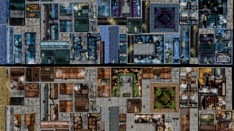 Tile City by Day Reversible Deluxe City Rooftop Tile Set For Rpg