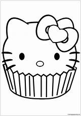 Kitty Hello Cupcake Pages Coloring Print sketch template