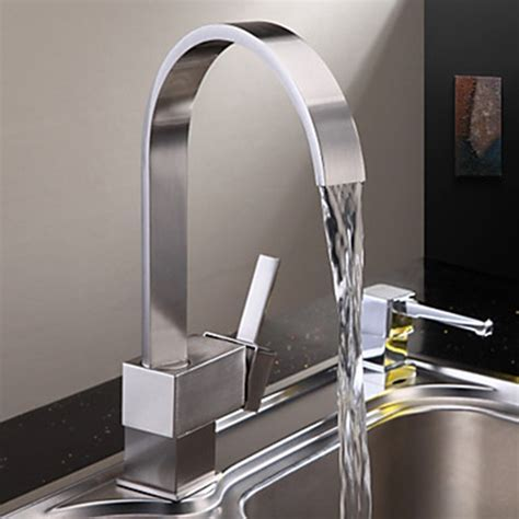 Nickel Brushed Finish Contemporary Brass Kitchen Faucet