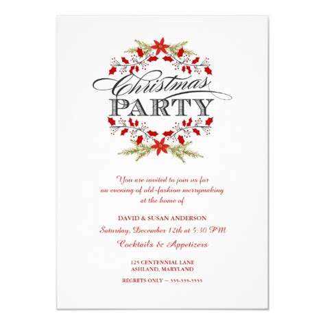 elegant holly wreath christmas party invitations zazzlecom