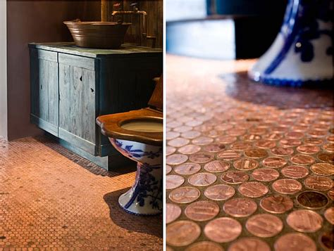 kitchen floor made out of pennies copper flooring made easy 9373