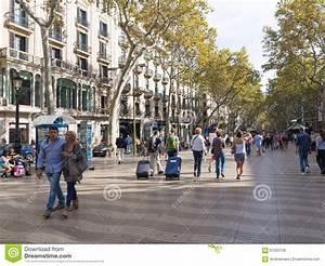 Tourists on La Rambla editorial photo. Image of pedestrian ...