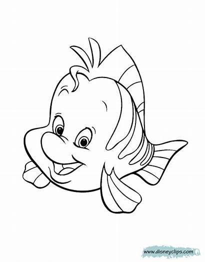 Coloring Mermaid Flounder Pages Ariel Sebastian Disney