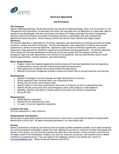 Contract Supervisor Resume by Contract Administration Sle Resume