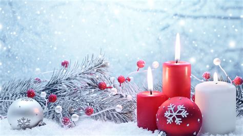 wallpaper christmas  year candle balls fir tree snowflakes snow decorations holidays
