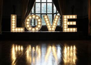 illuminated prop hire from all you need is love With illuminated love letters