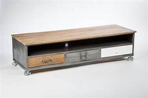 Meuble Tv Metal Bois : meuble tv roulettes choix d 39 lectrom nager ~ Teatrodelosmanantiales.com Idées de Décoration