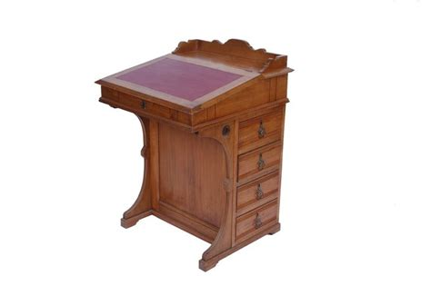 Antique Captain's Desk With Refinished Leather Top
