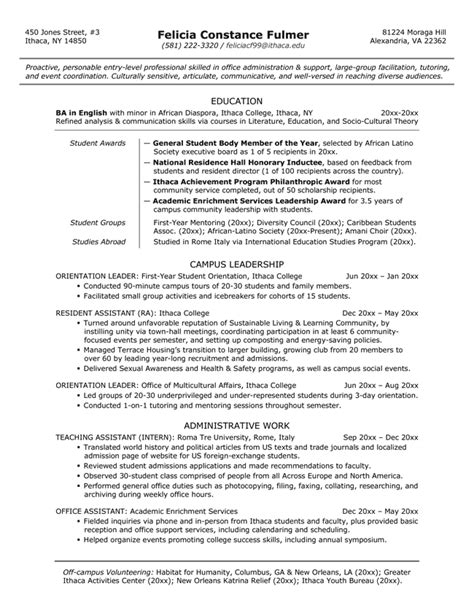 Bachelor Of Arts Resume Exles by Resume Sles Exles Brightside Resumes