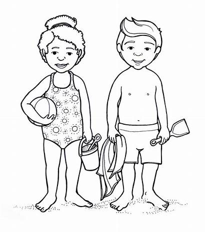 Coloring Pages Parts Human Suit Outline Bathing
