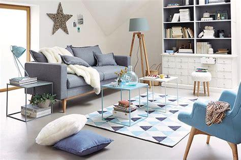 salon maison du monde scandinave sixties gris bleu ciel