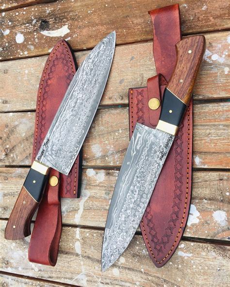 knives kitchen damascus tang knife chef steel handmade zone custom kniveszone chefs