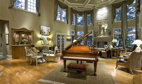grand piano set ups  traditional living rooms home
