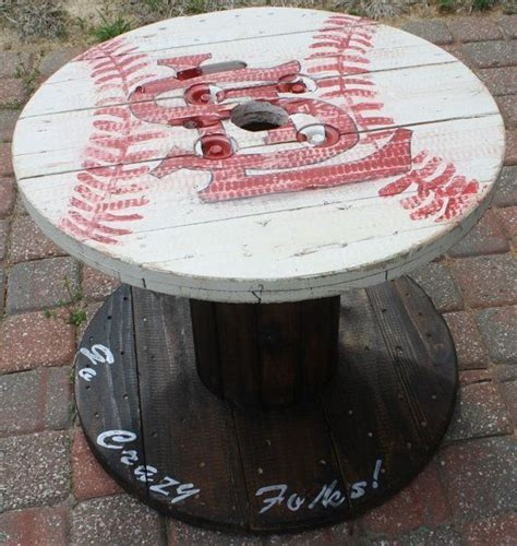 st louis cardinals wooden cable spool table great for the mancave or outdoor patio or living
