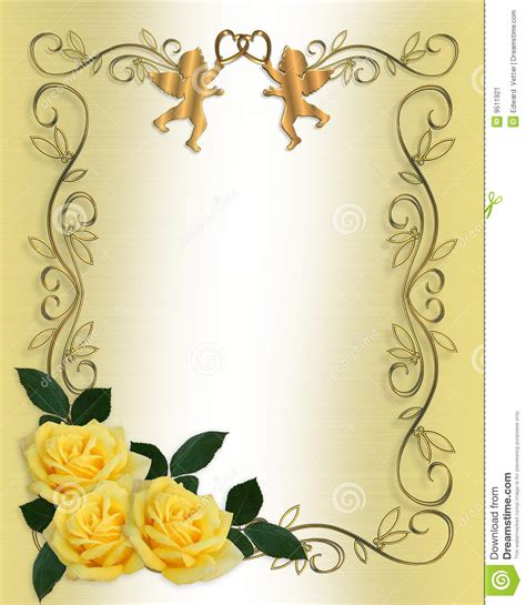 beira das rosas do amarelo do convite do casamento imagem de stock imagem 9511921