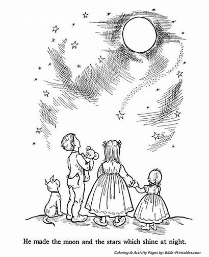 Creation Coloring Pages Bible Night Story Printables