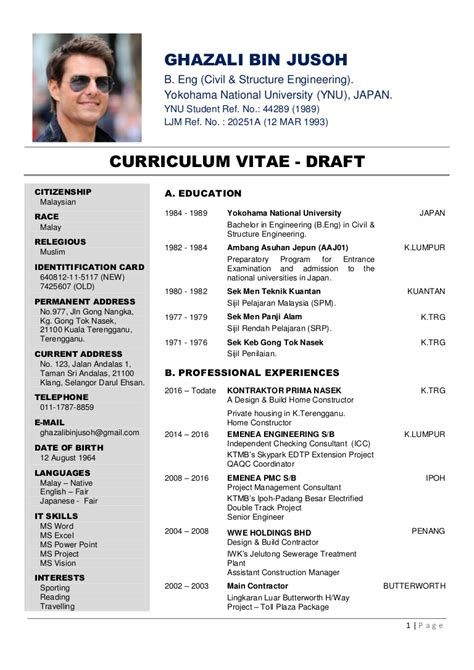 Draft Cv Template by Curriculum Vitae Draft