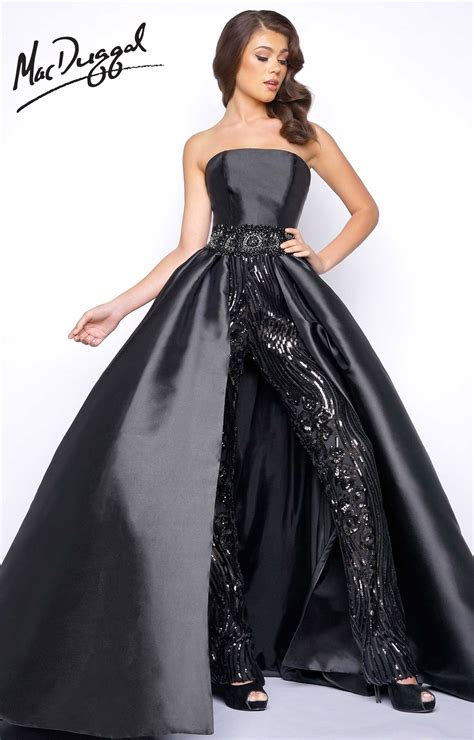 Mac Duggal 11039M - Satin Strapless Jumpsuit with Skirt and Beaded Waistline Prom Dress