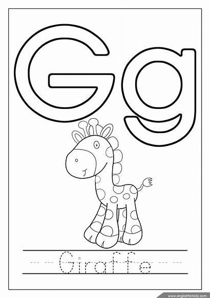 Letter Coloring Alphabet Printable Letters Worksheets Giraffe