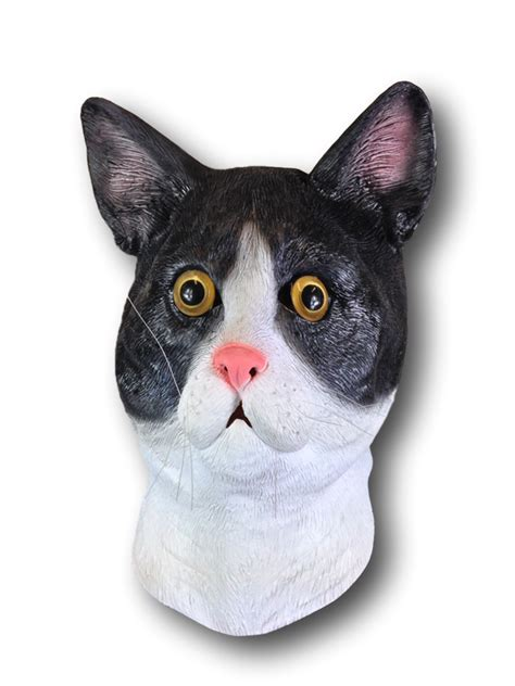 black white cat mask rubber johnnies masks