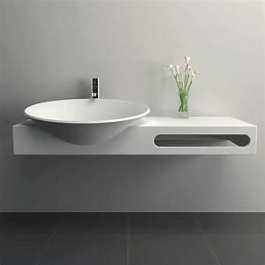 Pied Meuble Salle De Bain Suspendu : meuble vasque salle de bain suspendu en composite 100 x 54 cm mineral ~ Teatrodelosmanantiales.com Idées de Décoration