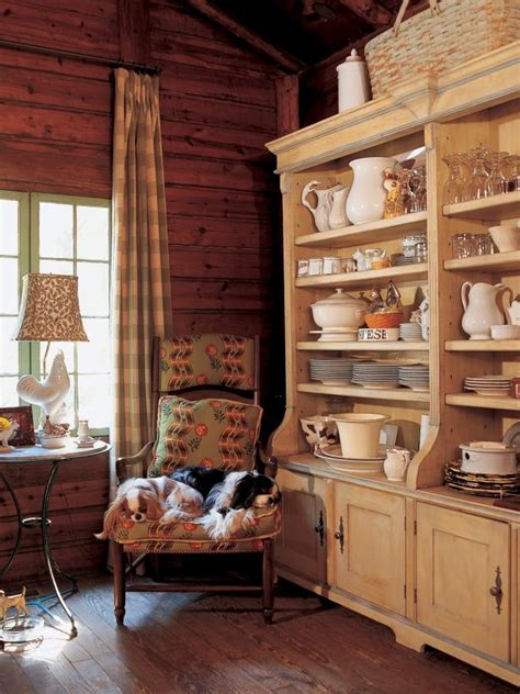 rustic country kitchen  wood planked walls  hutch