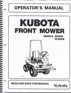 Kubota Gf1800 E  Mower   Deck Operator Manuals  Set Of 2