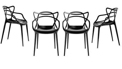 chaise starck kartell masters stackable armchair plastic set of 4 black by