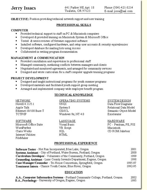 Network Support Resume Objective by Skill Based Resume Sle Network Support User Specialist