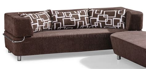 brown microfiber convertible sectional sofa bed w ottoman