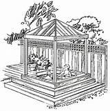 Gazebo Tub Plans Diy Garden Backyard Spa Drawings Cedar Drawing Western Building Sketch Pergola Gazebos Outdoor Plan Pavilion Enclosures Build sketch template