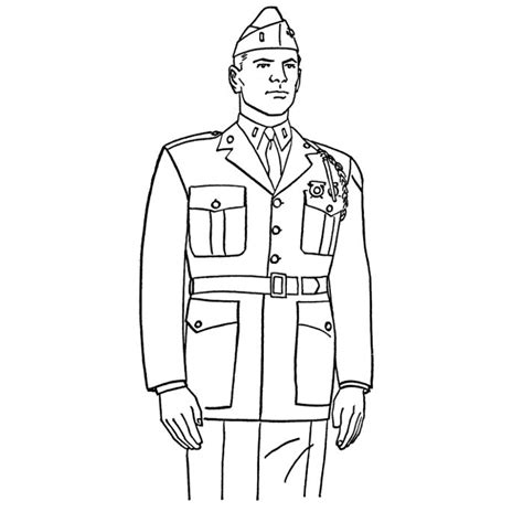 coloriage de soldat militaire  imprimer