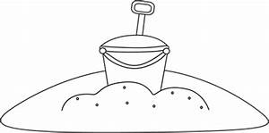 Black and White Bucket in the Sand Clip Art - Black and ...