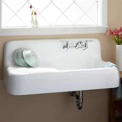 "42"" Cast Iron Wall Mount Kitchen Sink With Drainboard"