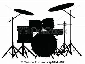 Drum kit Silhouette of a rock bands drum kit isolated on