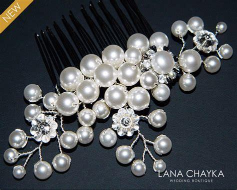 Bridal White Pearl Hair Comb Swarovski Pearl Crystal