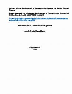 Fundamentals Of Communication Systems Solution Manual Proakis