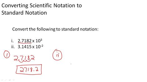 converting scientific notation to standard notation youtube