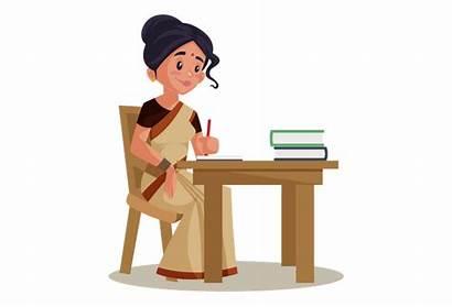 Lady Teacher Indian Working Desk Books