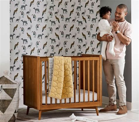 west elm crib west elm x pbk mid century mini crib with mattress