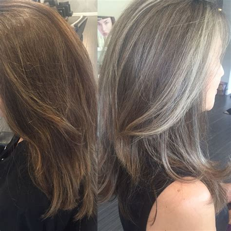 transitioning  colored hair  silvergrey hair