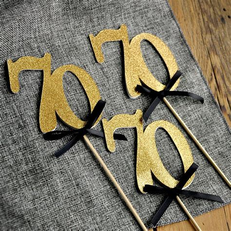 70 Birthday Decorations by 70th Birthday Centerpieces In Gold And Black 70