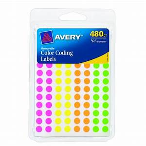 averyr color coding permanent round labels 1 4in With avery 1 inch round labels