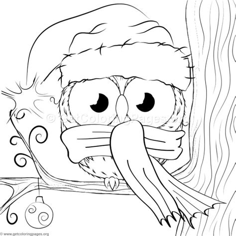 cute christmas owl  coloring pages getcoloringpagesorg