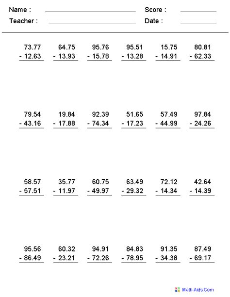 5th grade math worksheet addition and subtraction pin on math aids