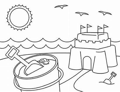 Coloring Pages Beach Summer Sand Preschool Castle
