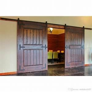2017 10ft antique black wooden double sliding barn closet With 3 ft barn door