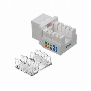 100 Pack Lot Keystone Jack Cat6 White Network Ethernet 110 Punchdown 8p8c